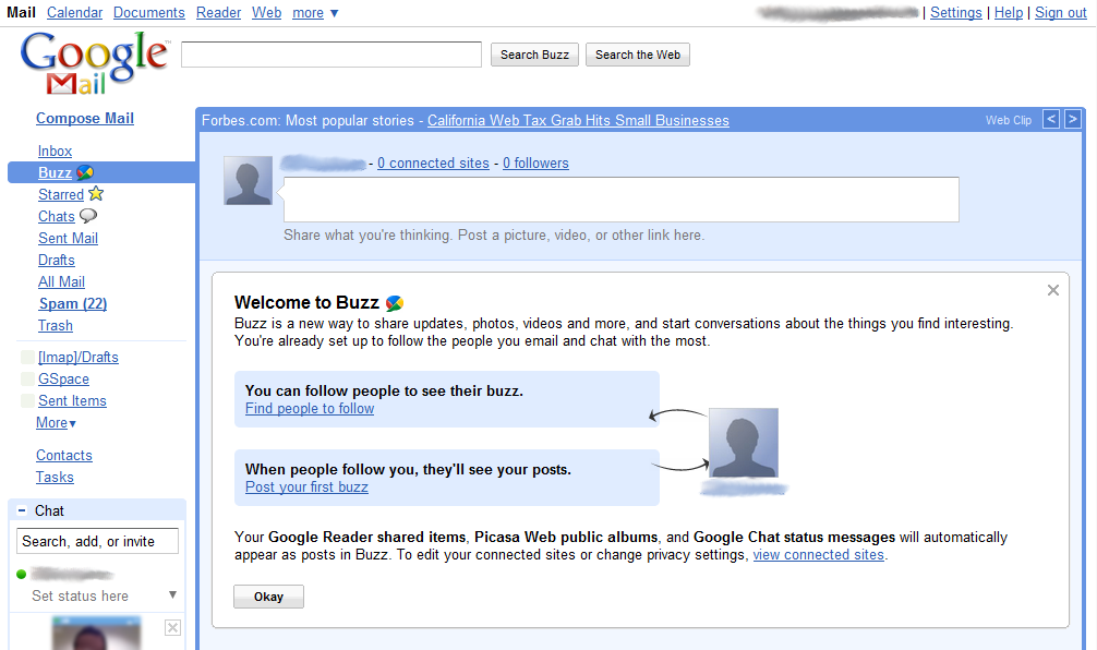 Google Buzz welcome screen screenshot