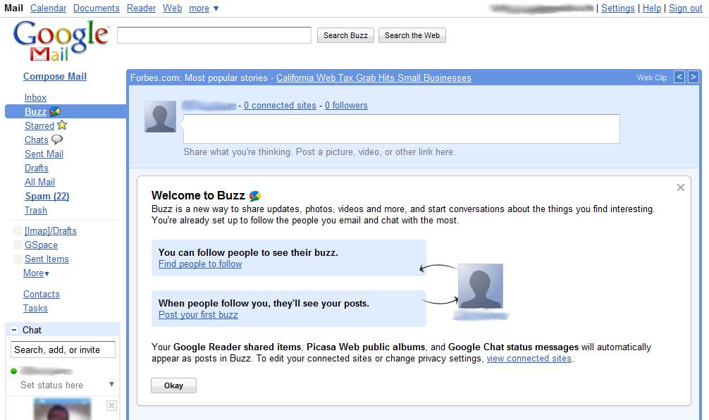 Google Buzz welcome screen screenshot