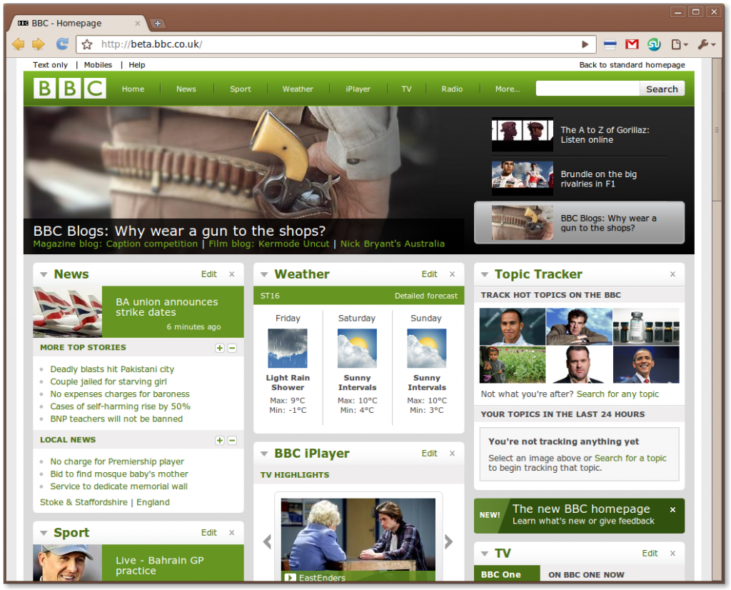 New BBC Beta Web Design