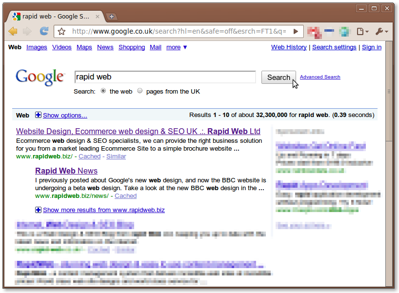 Google SERPs Rapid Web Services Google Chrome