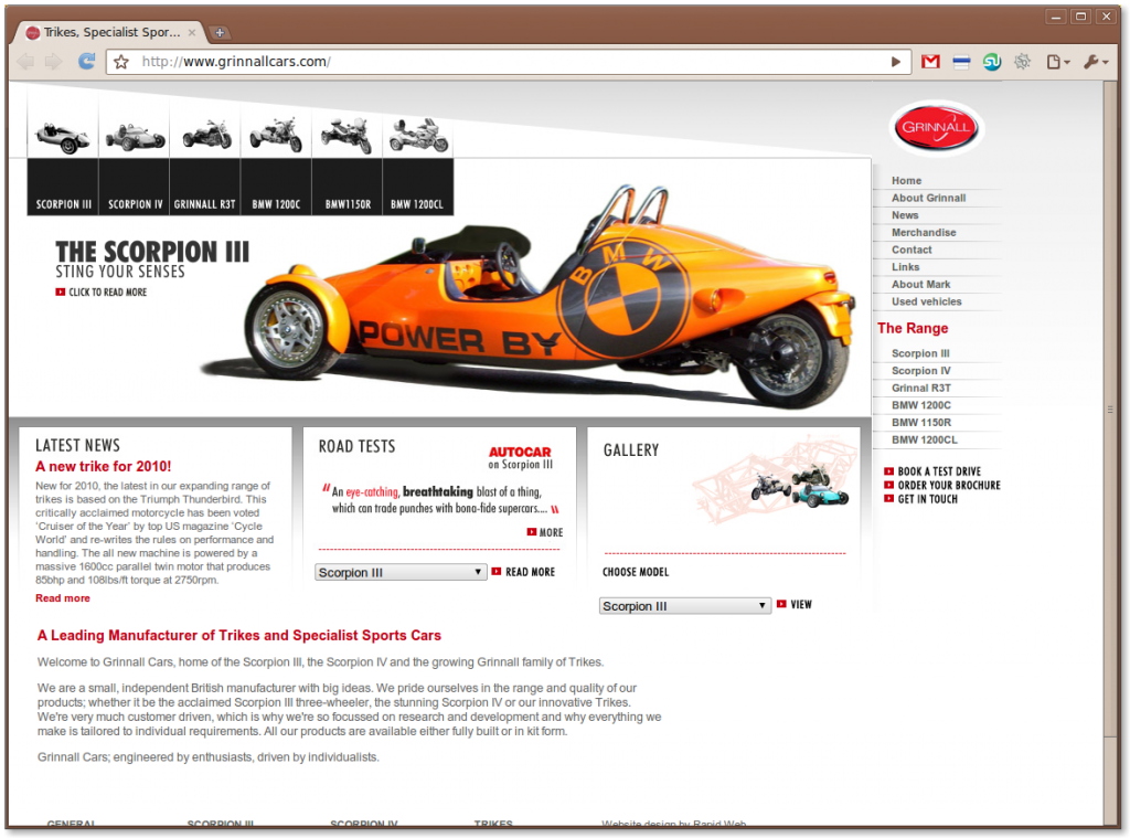 Trikes, Specialist Sports Cars and Kit Car Manufacturer from Grinnall Cars