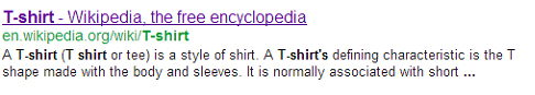 Google Search result for t-shirt