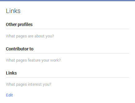 Google Plus Links editing panel
