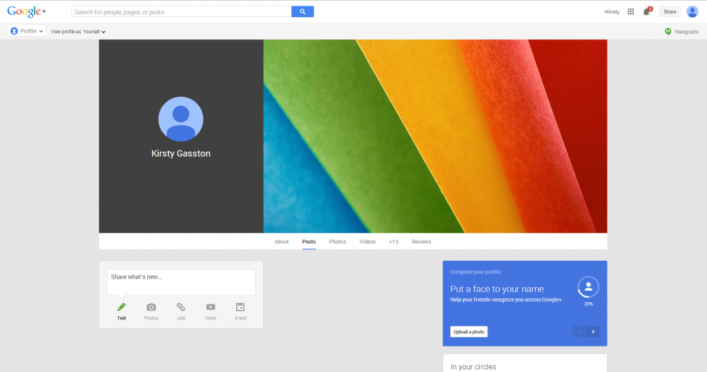 Personal Google Plus Profile Setup