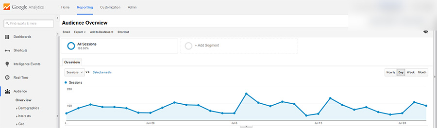 Screenshot of Google Analytics Overview Page