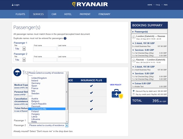 Ryanair Dark Patterns Implementation
