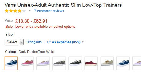 Shoes with different variations on colours and pricing on Amazon