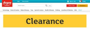 Clearance section of Argos website