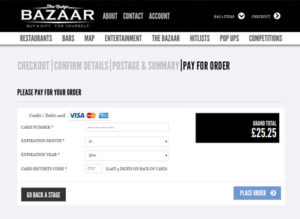 Payment stage of checkout on The Nudge Bazaar