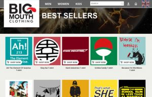 Big Mouth Clothing Bestsellers page