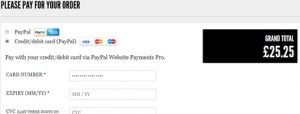 Screenshot of a payment gateway page featuring PayPal and Credit/Debit card options on a website