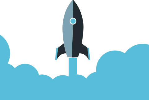 A rocket blasting off! A metaphor for website performance speed.