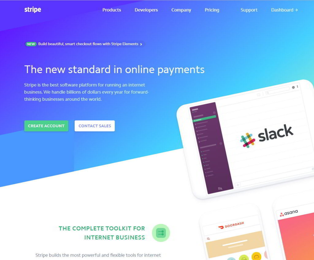 Image of Stripe homepage